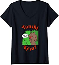 Womens Tonshi Keya Greeting Bear Michif Mechif Metis Language V-Neck T-Shirt