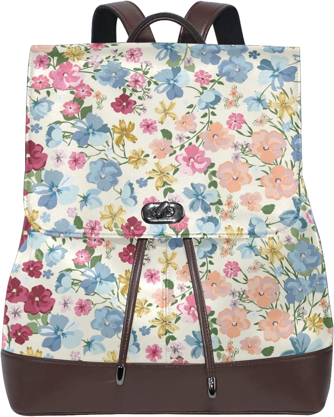Women Leather Backpack Ladies Fashion Shoulder Bag Large Travel Bag Trendy Floral Design