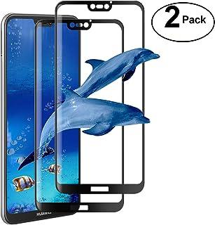 [2 paquetes] Huawei P20 Lite Protector de pantalla, ivencase Premium Pantalla completa Cobertura Cristal templado Borde redondeado [Sin burbujas] [Anti-Scratch] [5D Curvo] Ultra-Slim Protector de pantalla claro para Huawei P20 Lite 5.84 ' - Black