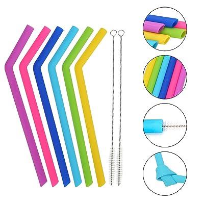 Silicone Straws Set of 8, Reusable Silicone Dri...