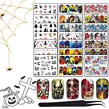 WOKOTO 48 Sheets Waterslide Nail Decals With 1Pcs Tweezers Full Wraps Nail Stickers Shull Cat Bat Vampire Owl Manicure Kits For Women