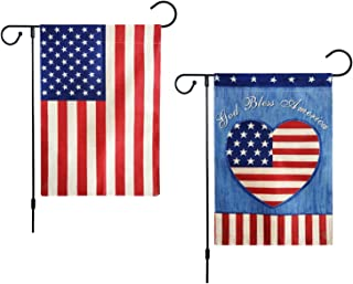 Qomalaya 2 Pack Vertical Double Sided USA United States Decorative Garden Flags Spring Summer Rustic Farmhouse Burlap Outdoor Yard Flags Decorative 12 x 18 Inch