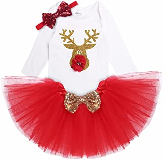 iEFiEL Baby Girls Christmas Outfit Long Sleeves Shiny Reindeer Romper with Tutu Skirt Headband Xmas Costume