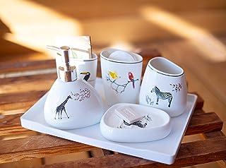 Deqoration - 6pcs Accessori Bagno in Ceramica di Lusso, Classic Design Set Bagno, Set da Bagno Accessori Completo