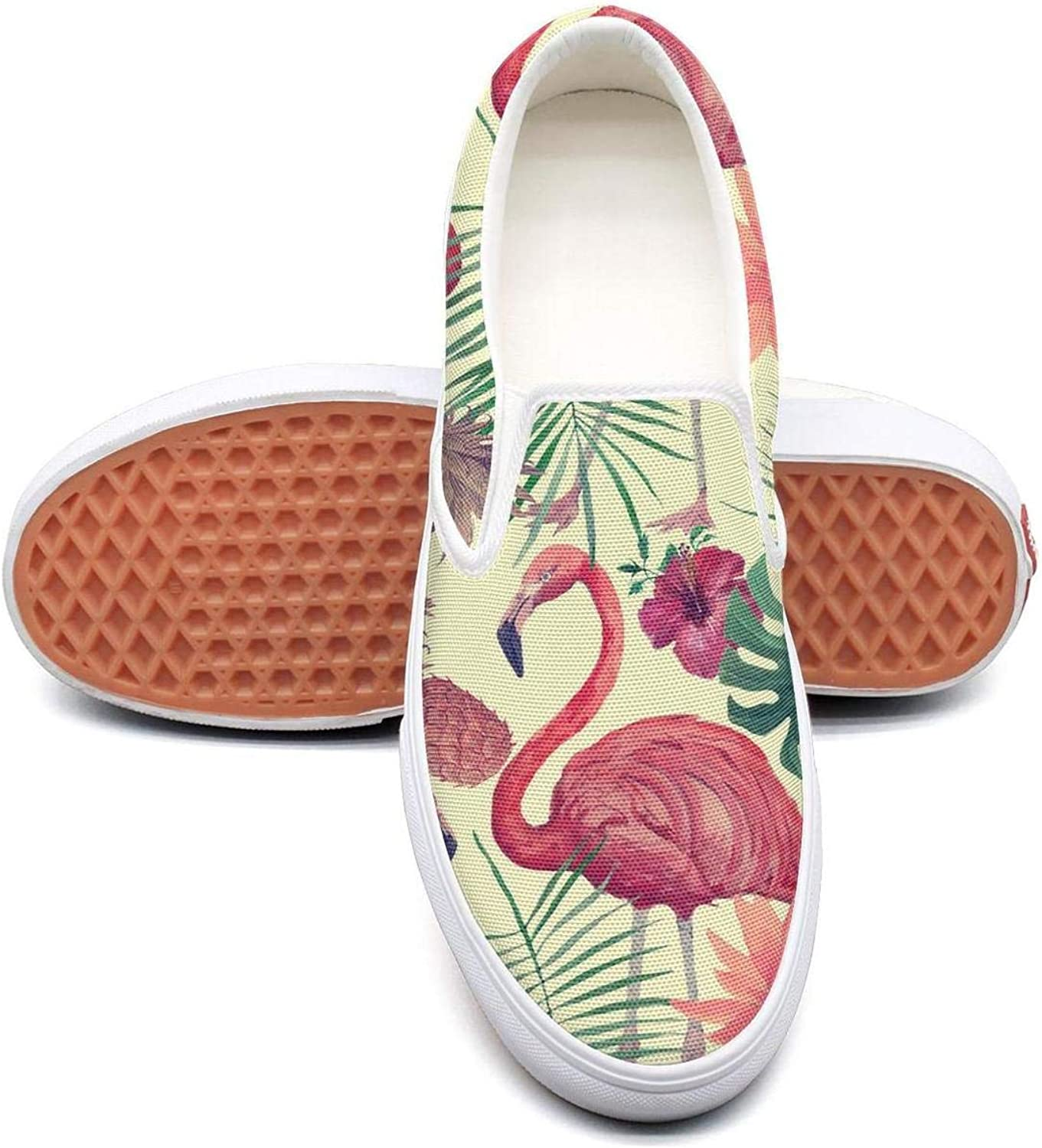 Refyds-es Back to School Pink Flamingos Womens Fashion Slip on Low Top Lightweight Canvas Volleyball Sneakers