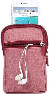 DFV mobile - Belt Multi-functional Vertical Stripes Pouch Bag Case Zipper Closing Carabiner for HTC Desire 19s (2019) - Re...