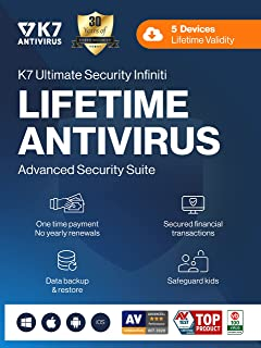 K7 Ultimate Security Infiniti Antivirus 2021 for Lifetime Validity | 5 Devices | Threat Protection,Internet Security,Mobil...