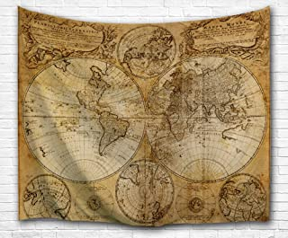 BEWAVE Mapa Mundial de Tapices de Pared, Decoración de