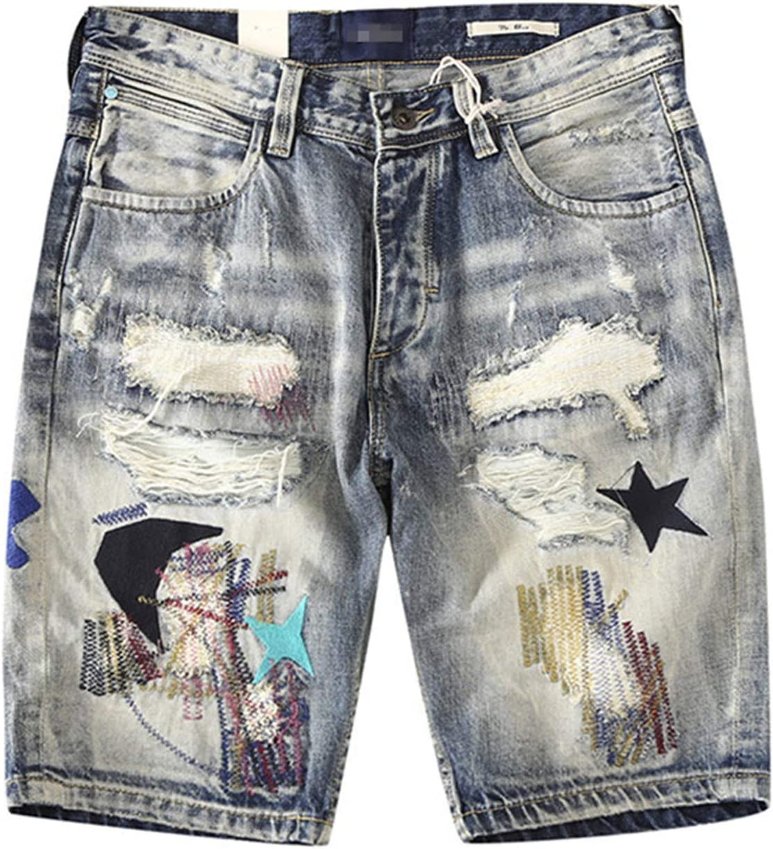 Yiqinyuan Street Men's Ripped Denim Shorts Distressed Pentagram Embroidery Jeans Shorts Summer Knee Length Shorts