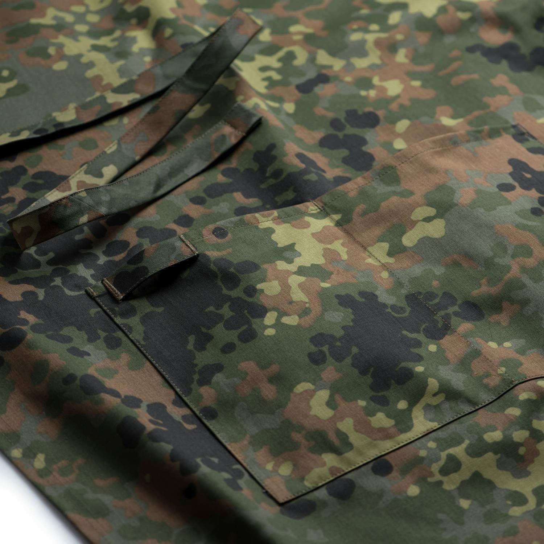 FLECKTEX/® Camouflage GRILLSCH/ÜRZE K/üchensch/ürze Premium Apron M/änner Vater Geschenk zum Grillen mit KLETTSTREIFEN f/ür Namensschild 2er Set