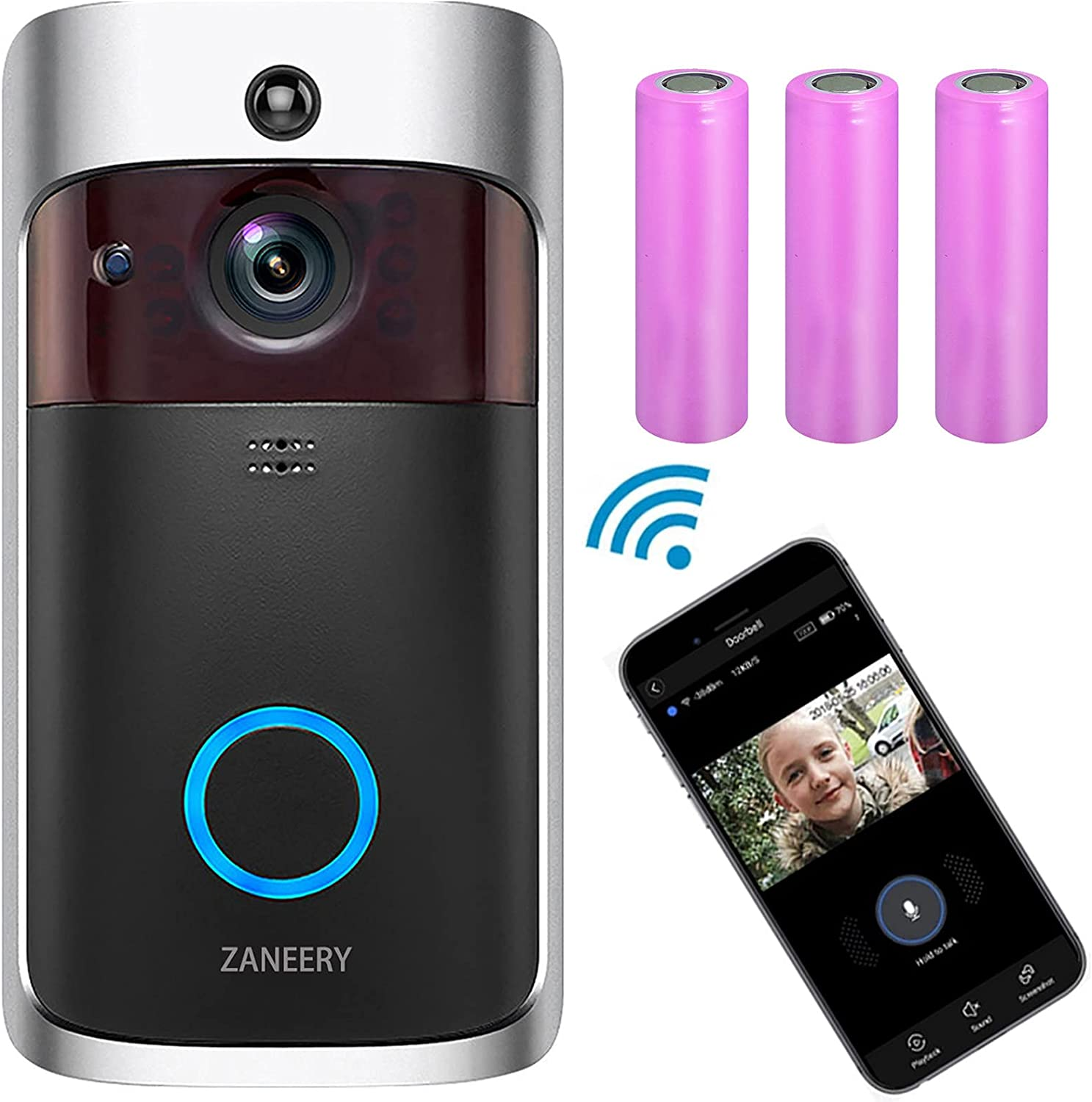 Video Doorbell Camera, 2.4Ghz Wi-Fi HD Wireless Security Camera Doorbell, Electric DoorBells, IP65, Night Vision, Motion Detect, 2-Way and Real-time Audio, 166° Wide View (Black)