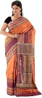 SareesofBengal Women's Handloom Tussar/Kosa/Tassar Silk Saree Hand Block Printed