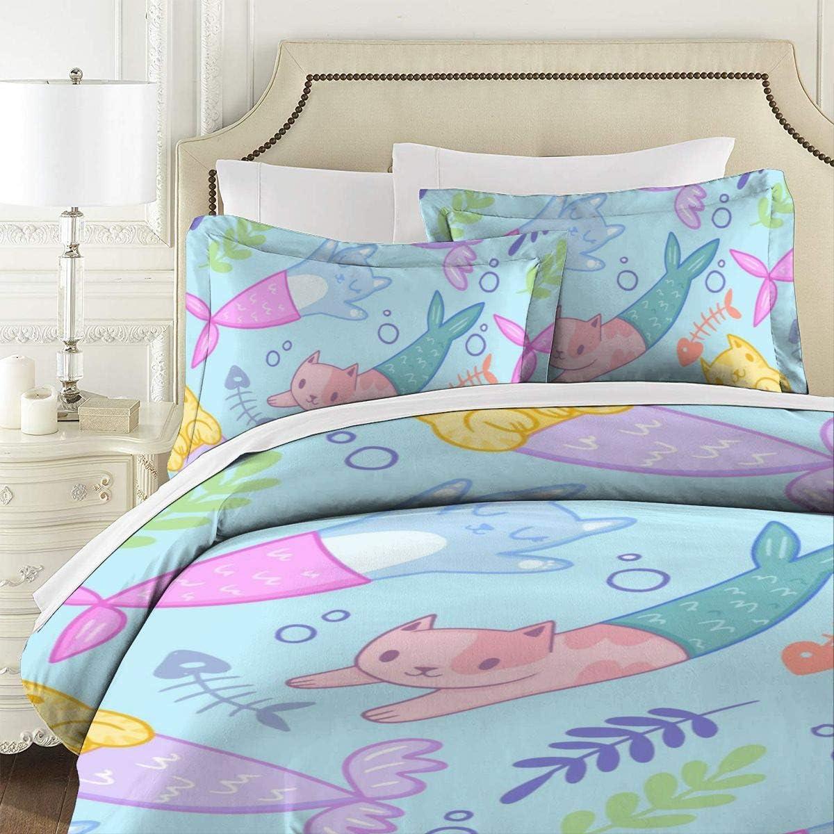 AUISS 3 Piece Bedding Import Set Cat Quilt Kitten Mermaid Ranking TOP6 Bedroom Cover
