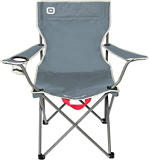 Outbound Camping Chair | Portable Foldable Wide Back Quad Chair with Cup Holder | Lightweight and Perfect for The Beach, Backpacking, and The Outdoors | Gray