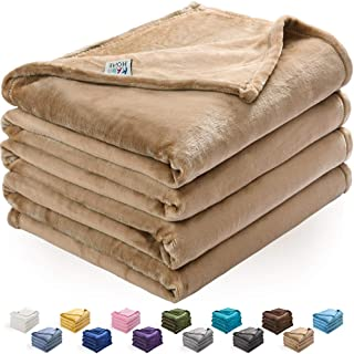 KAWAHOME Flannel Fleece Blanket Lightweight Warm Fuzzy Soft Microfiber Blankets All Season for Bed Couch Sofa Queen Size 90 X 90 Inches Tan