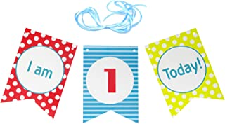 Honbay 1 Set Dot Baby 1st Birthday High Chair Decorative Banner for Baby Boy or Baby Girl First Birthday - I am 1st Today