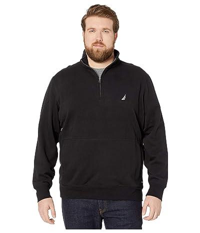 Nautica Big & Tall Big Tall Fleece Basic 1/4 Zip (True Black) Men