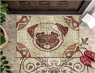 LIFESELAZ Pug Dog Close Wicker Doormat Welcome Hello Non-Slip Rubber Entrance Outdoor Mats (M (17.72'' x 29.53''))