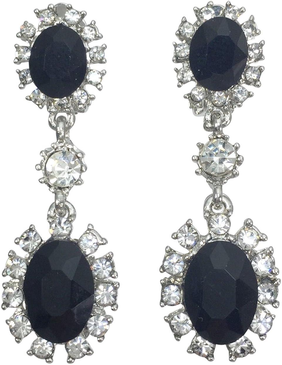 Double Oval Rhinestone Fancy Formal Prom Clip On Earrings