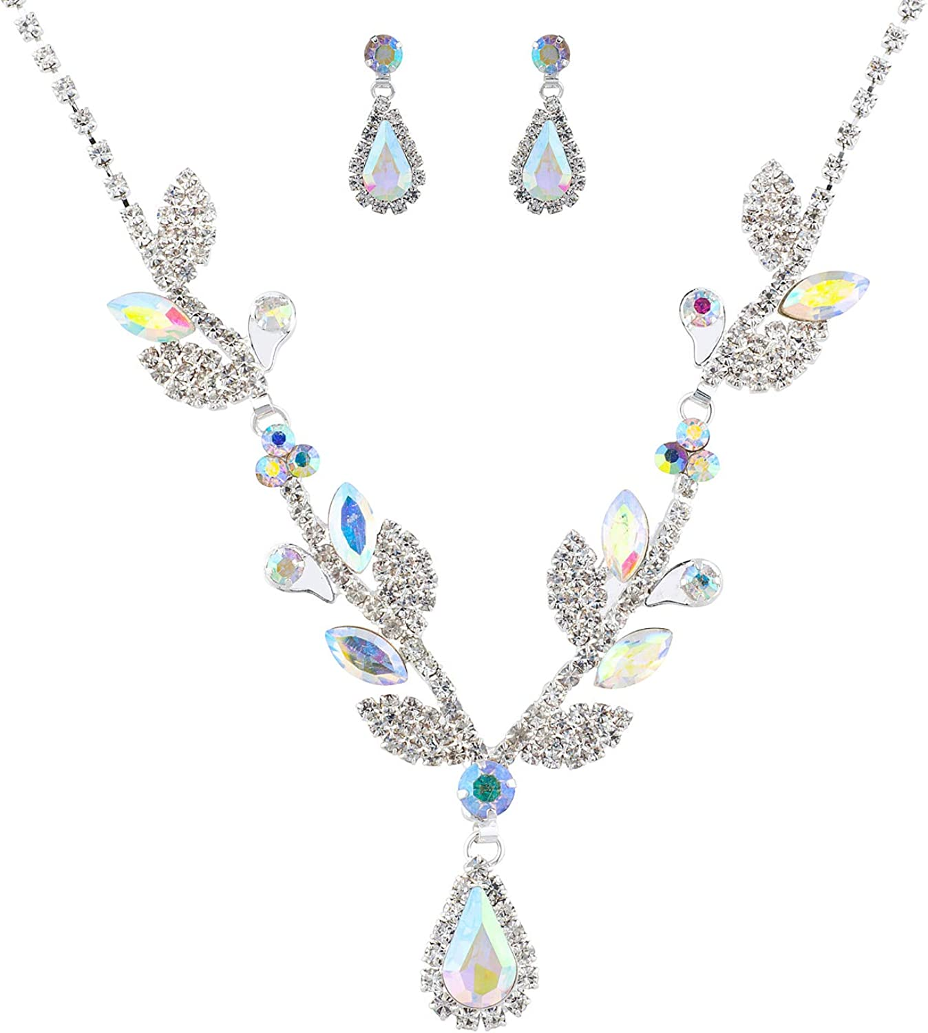 LUX ACCESSORIES Wedding Event Luxury Hair Bridal Crystal Jewelry Sets Rhinestone Necklace Earrings