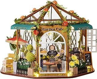 CuteBee DIY木製ドールハウス 、ガーデンカフェ、360°八角形のデザイン、ミニチュアコレクション、防塵カバー付き(GD01)