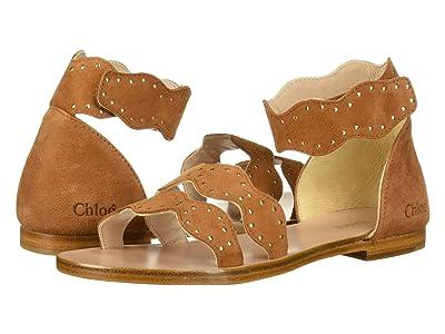 Chloe Kids Scalloped Leather Sandals (Little Kid) (Natural) Girl