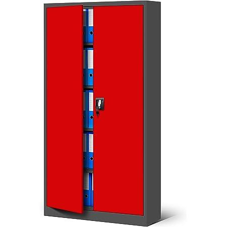 Jan Nowak by Domator24 Armoire de Bureau Métallique C001 4 Etagères Tôle d'acier Portes Battantes Verrouillable 185 cm x 90 cm x 40 cm (Anthracite/Rouge)