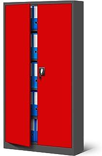 Jan Nowak by Domator24 Armoire de Bureau Métallique C001 4 Etagères Tôle d'acier Portes Battantes Verrouillable 185 cm x 9...