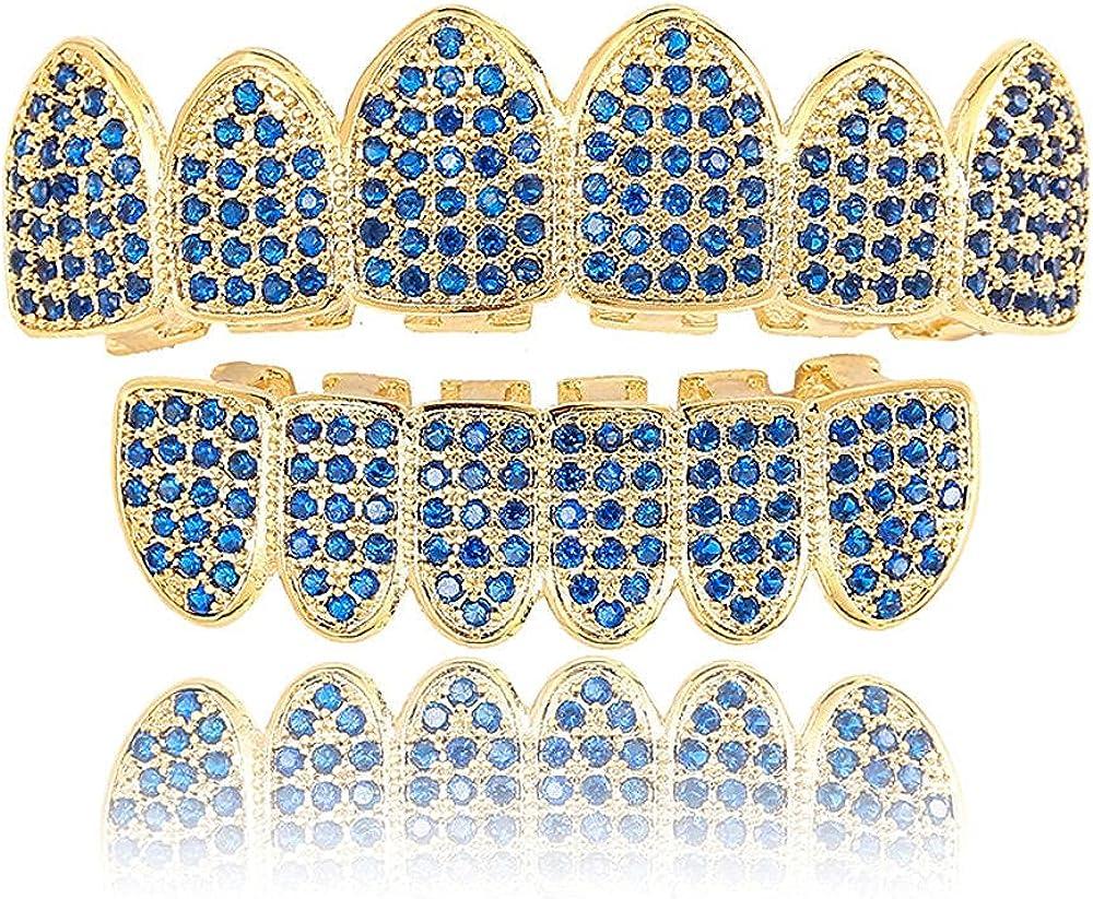 Hip Hop Teeth Hip hop blue zircon micro-inlaid zircon gold braces hip hophip hop braces