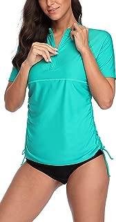 Women Short Sleeve Rash Guard Half-Zip Adjustable Side Drawstring UPF Swim Shirt