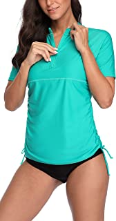 ATTRACO Women Short Sleeve Rash Guard Half-Zip Adjustable Side Drawstring UPF Swim Shirt
