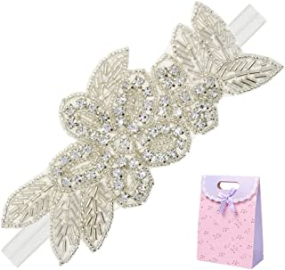 Elesa Miracle Little Baby Girl Rhinestone Flower Headband, Baby Hair Accessories in Gift Bag