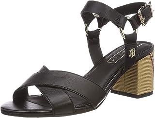 Elevated Leather Heeled Sandal, Sandalias con Plataforma para Mujer