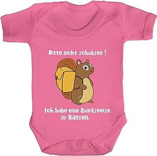 ShirtStreet Strampler Bio Baumwoll Baby Body kurzarm Jungen Mädchen Eichhörnchen - Bitte nicht schubsen