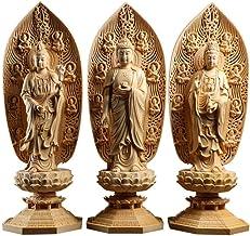 Sculpture Statue Sculpture Statue 3-Piece Wooden Home Feng Shui Buddhist Temple Statue Buddha Statue Wooden Buddha