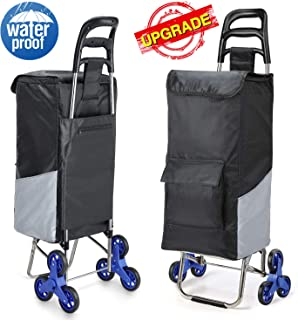 Lenbest Upgraded Tri-Wheels Shopping Cart, Grocery Cart with Stainless Steel Frame & Extended Long Handle Foldable Utility Cart with 6 Large Storage Waterproof Pockets No Tools Required Install