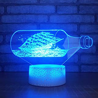 LED night light, night light with 7-color changing night light, Drift bottle sailboat shape patternbaby, children, children's room, hallway, nursery, holiday gift,