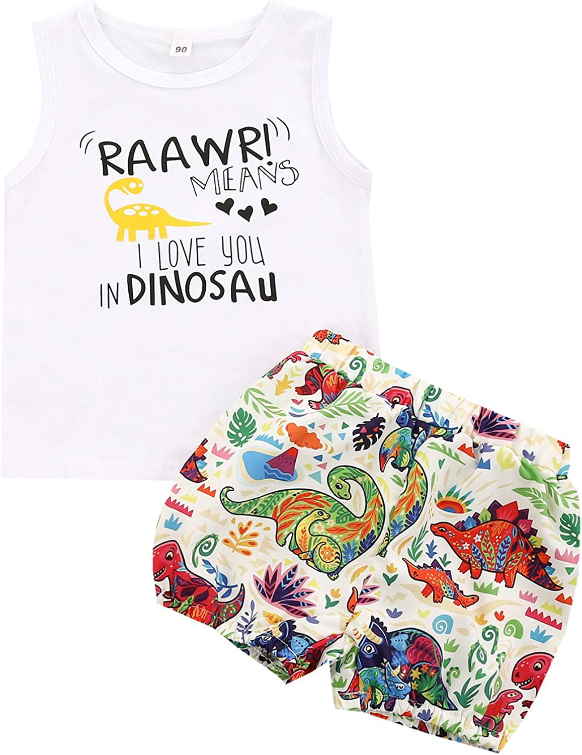 Specialtyliu Toddler Baby Boy Summer Clothes Sleeveless Printing Top Vest+Dinosaur Cartoon Shorts Set Baby Boy Outfit