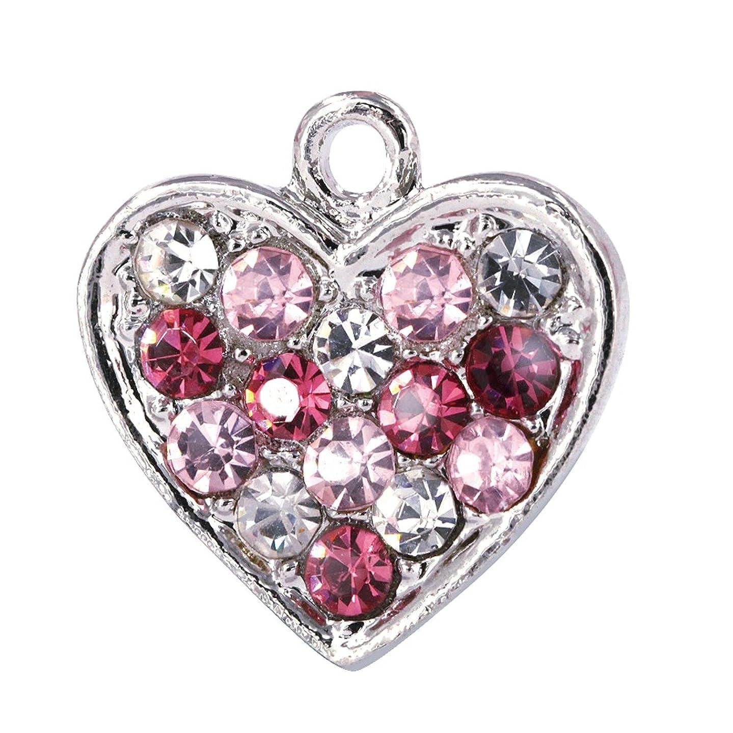 Creative DIY Pink Crystal Heart Charms Pendants Wholesale (Set of 3) MH270