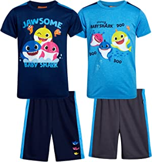 Nickelodeon Boys' Baby Shark Shorts Set - 4 Piece Top and Shorts Playwear Set