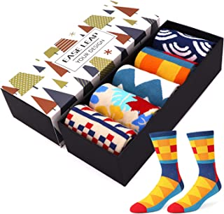Mens Dress Socks Funny Colorful Patterned Hosiery Funky Crew Socks for Women with Gift Box