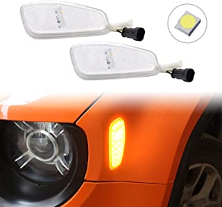 PGONE White Lens Amber LED Lights Side Marker Turn Signal Lamps Update Kit For Jeep Renegade 2015 2016 2017 2018 2019 accessories 2 Pcs Pack (White)