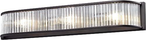 wholesale Elk 10327/3 online 28 by 4-Inch Braxton 3-Light Bathbar online with Glass Shade, Aged Bronze Finish online