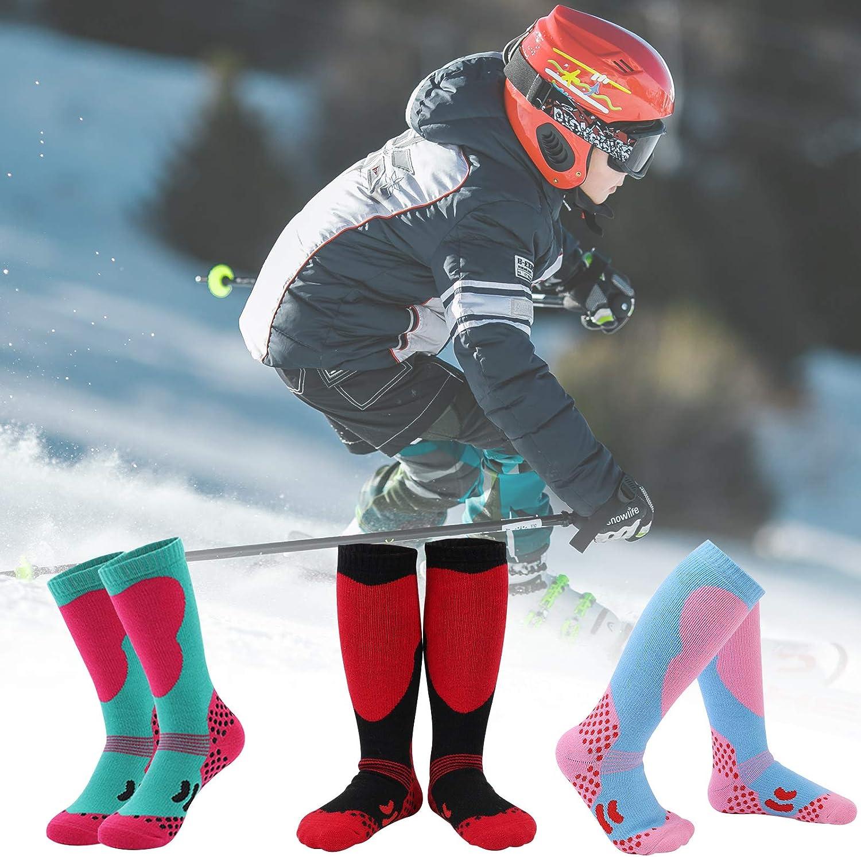 ATROPOS 3 Pair Kids Ski Socks for Boys Girls,Kids Snowboard Socks Winter Ski Socks for Outdoor Cold Weather
