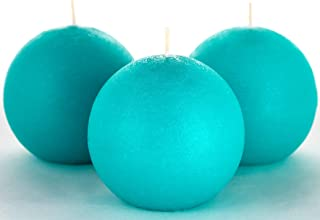Set of 3 Turquoise/Teal Sphere Ball Candles 3