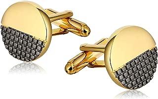 Stainless Steel Square Inlay Half Round Gold Cufflinks for Men Classic Cufflinks Wedding Business Cufflink Shirts Mens Jewelry