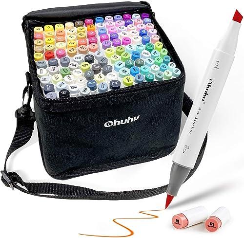 Ohuhu Alcohol Markers, Ohuhu Dual Tip, Brush & Chisel, Sketch Marker Set for Kids, Artist, Alcohol Brush Markers Bonu...