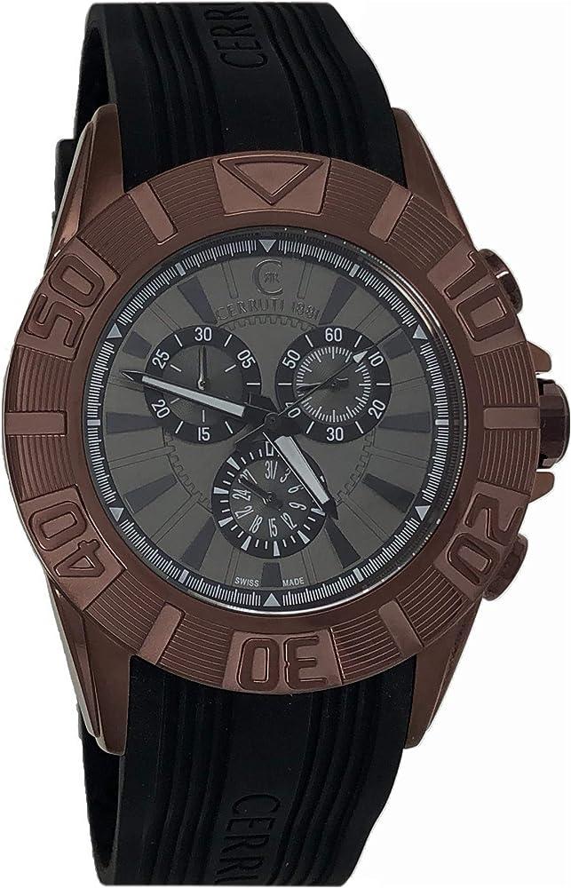 Cerruti 1881,orologio,cronografo pe uomo,cassa in acciaio lucidato a specchio,cinturino in silicone CRWA042M233Q