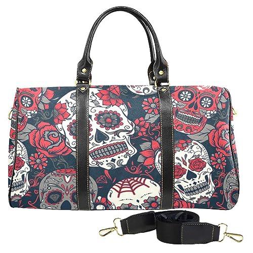 cd8161f66d153e Flowers Sugar Skull Large Travel Duffel Bag Waterproof Weekend Bag Luggage  with Strap