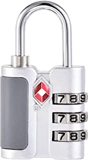 uxcell TSA Approved Luggage Lock 3 Digit Combination Travel Padlock Zinc Alloy Silver Tone 57x30x13.5mm